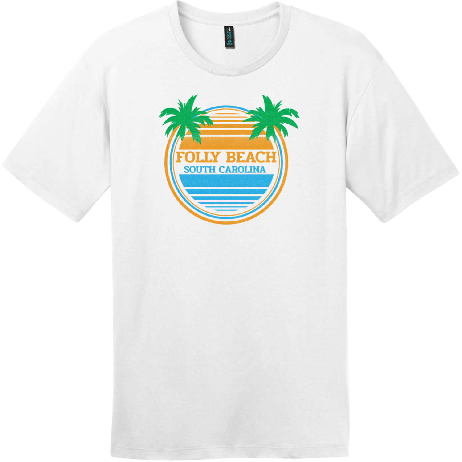 Folly Beach South Carolina Palm Trees T-Shirt Bright White District Perfect Weight Tee DT104
