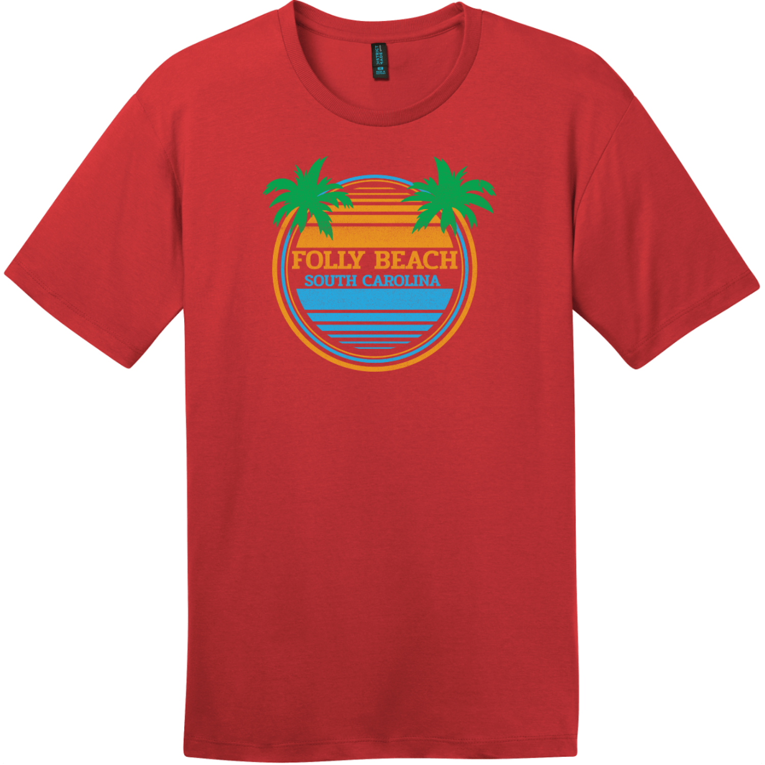 Folly Beach South Carolina Palm Trees T-Shirt Classic Red District Perfect Weight Tee DT104