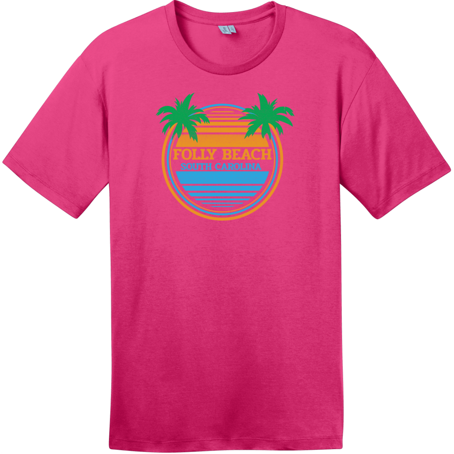 Folly Beach South Carolina Palm Trees T-Shirt Dark Fuchsia District Perfect Weight Tee DT104