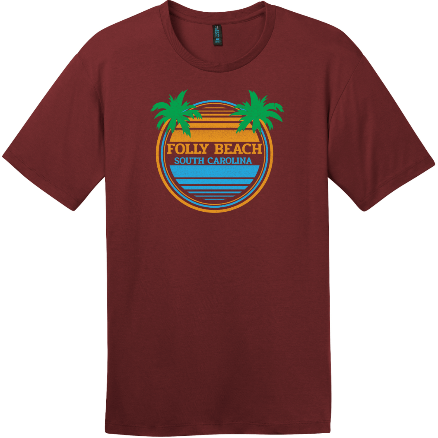 Folly Beach South Carolina Palm Trees T-Shirt Sangria District Perfect Weight Tee DT104