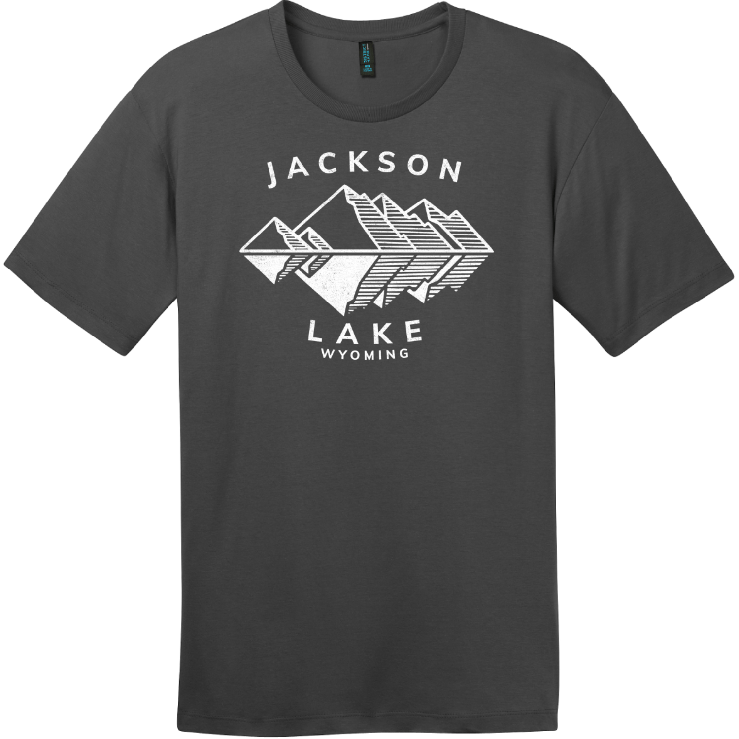 Jackson Lake Wyoming Mountains T-Shirt Charcoal District Perfect Weight Tee DT104
