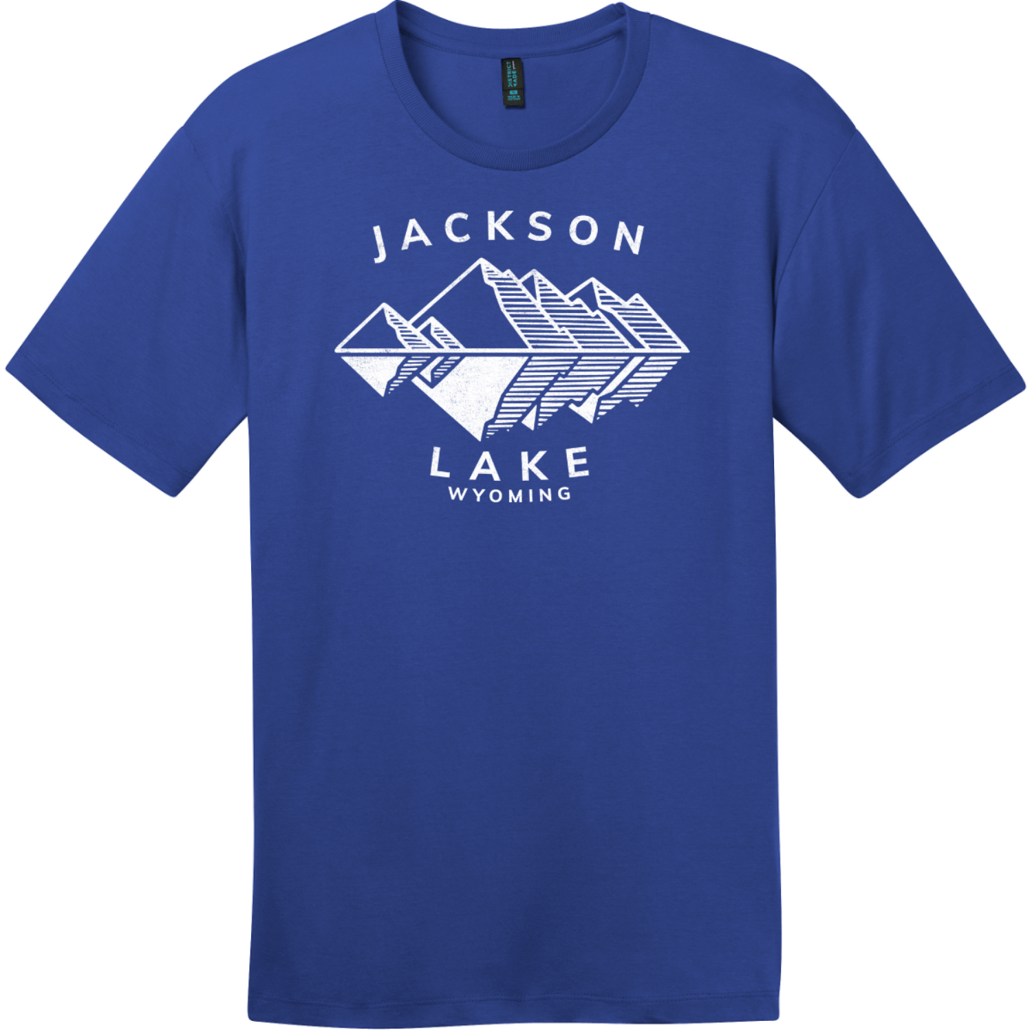 Jackson Lake Wyoming Mountains T-Shirt Deep Royal District Perfect Weight Tee DT104