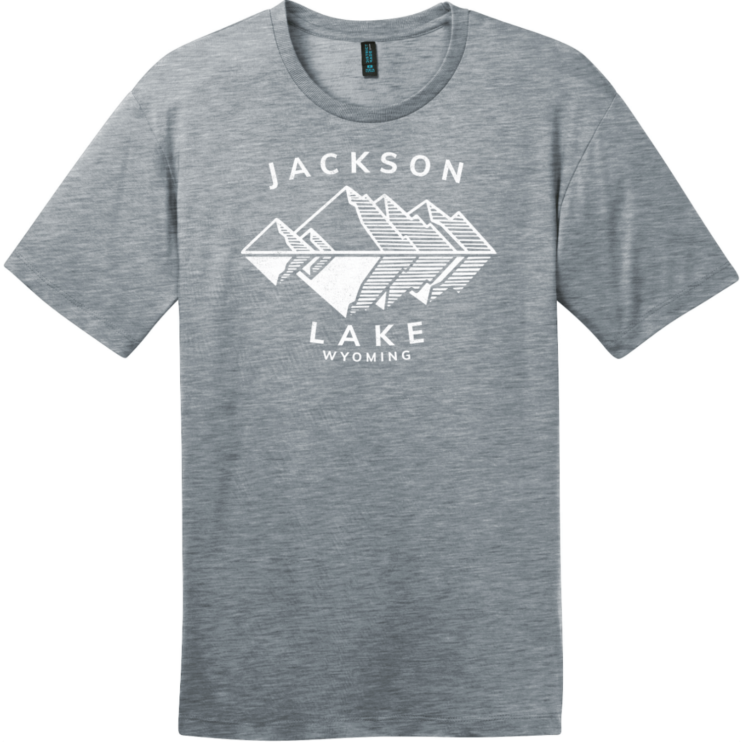 Jackson Lake Wyoming Mountains T-Shirt Heathered Steel District Perfect Weight Tee DT104