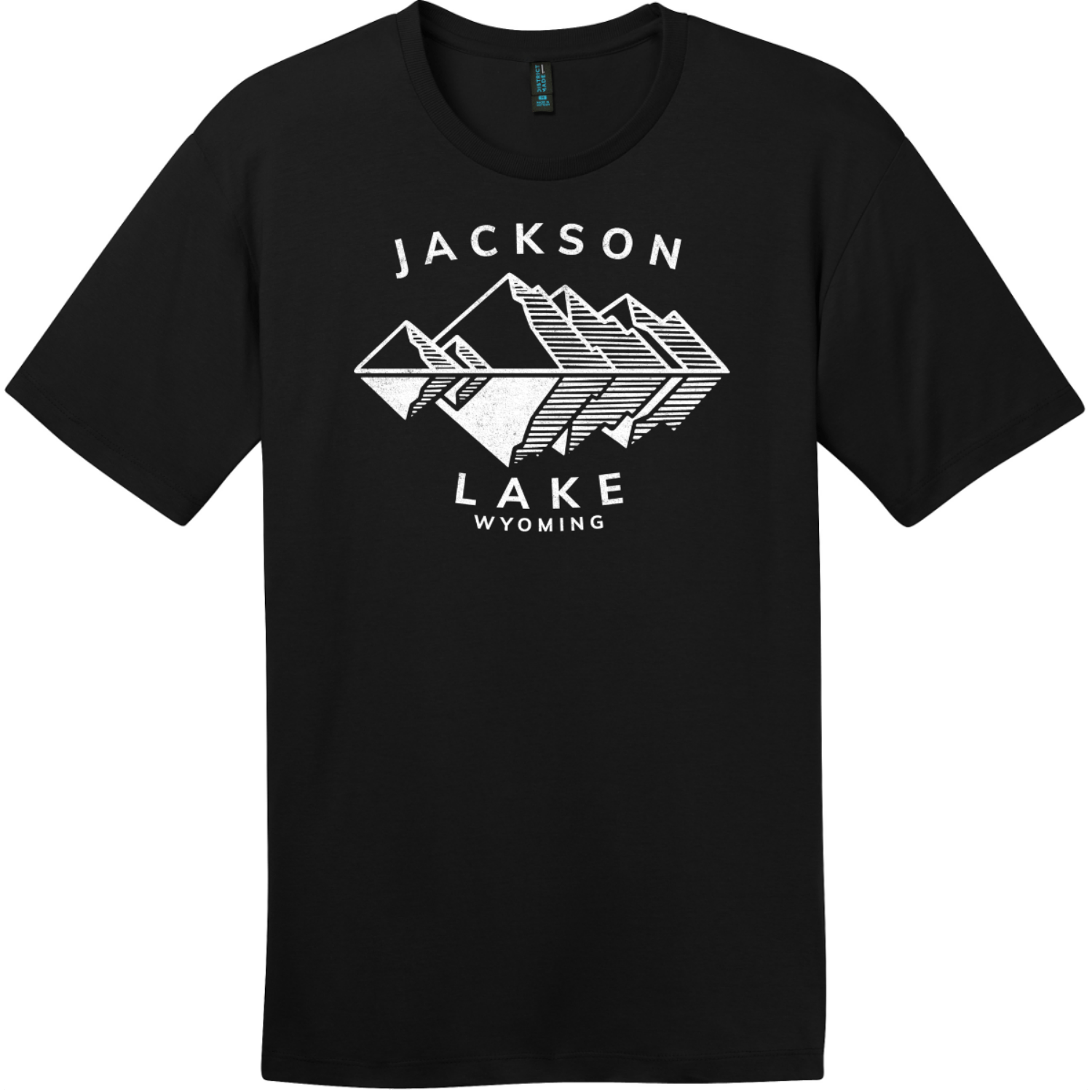 Jackson Lake Wyoming Mountains T-Shirt Jet Black District Perfect Weight Tee DT104
