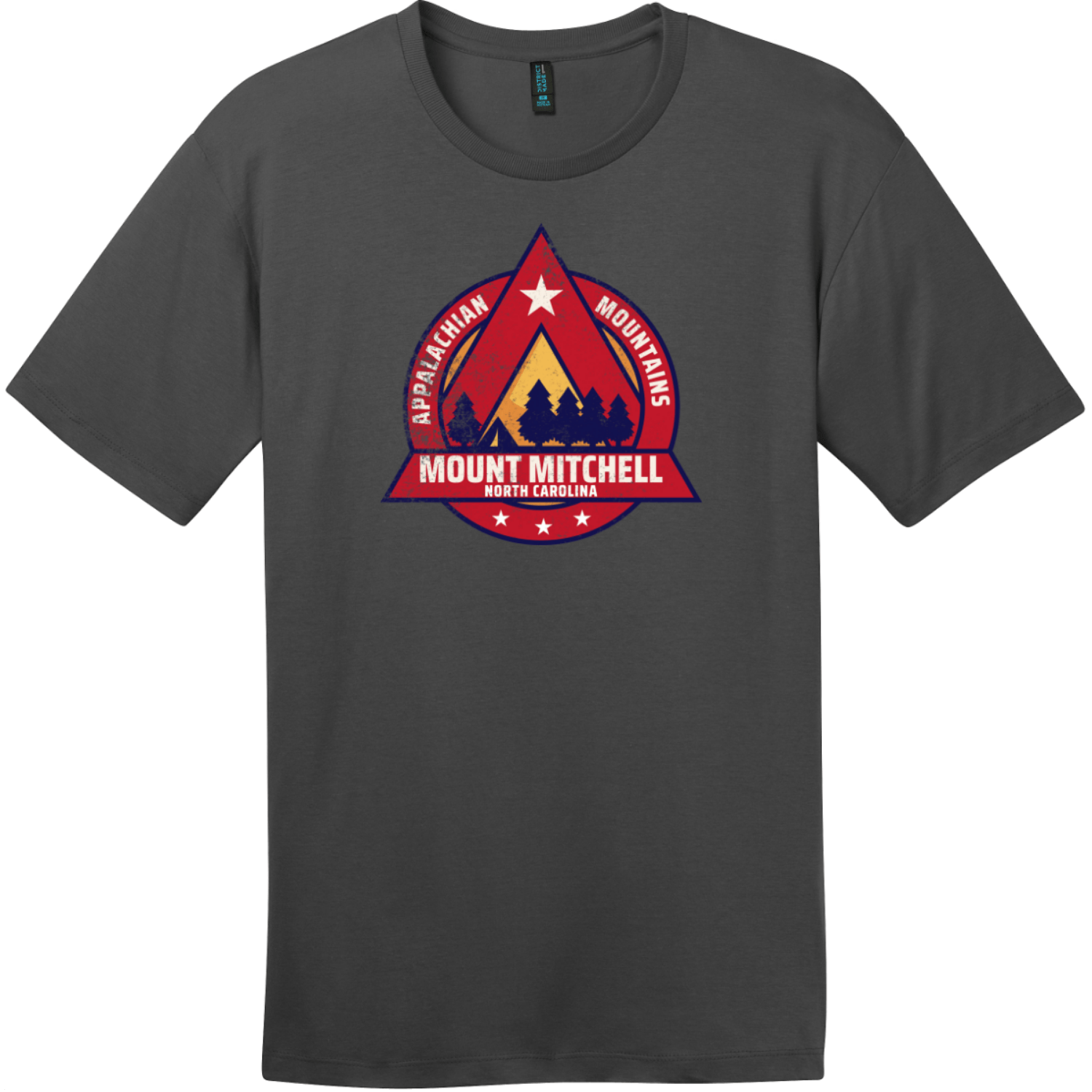 Mount Mitchell North Carolina Camping T-Shirt Charcoal District Perfect Weight Tee DT104