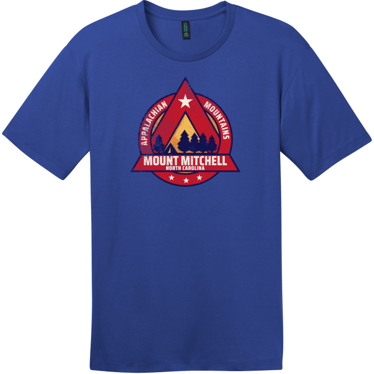 Mount Mitchell North Carolina Camping T-Shirt Deep Royal District Perfect Weight Tee DT104