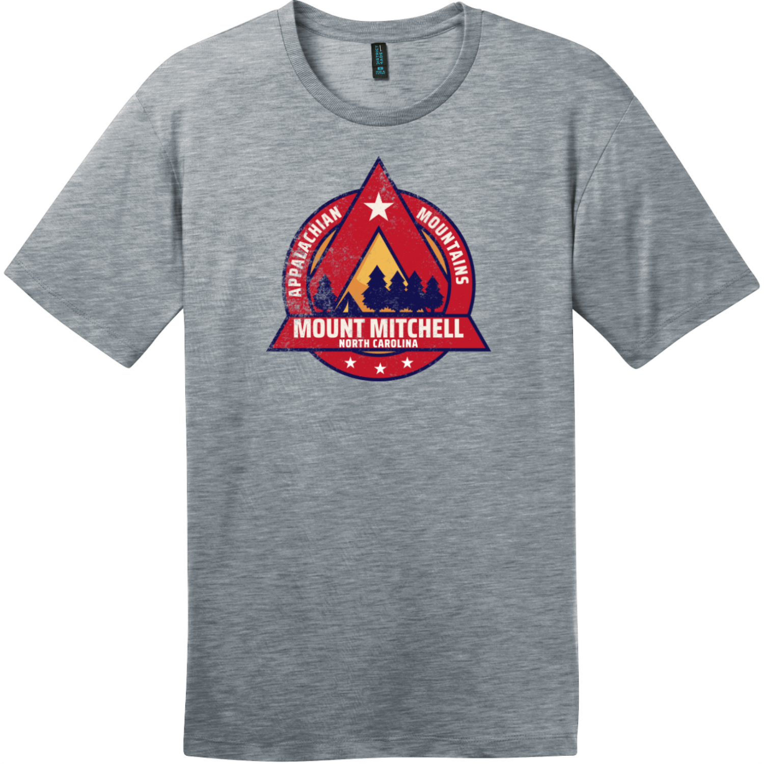 Mount Mitchell North Carolina Camping T-Shirt Heathered Steel District Perfect Weight Tee DT104