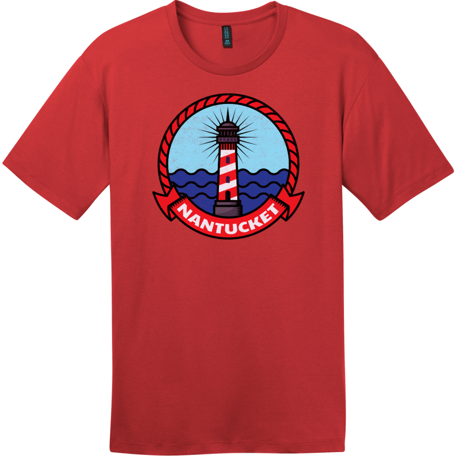 Nantucket Maine Lighthouse Distressed T-Shirt Classic Red District Perfect Weight Tee DT104