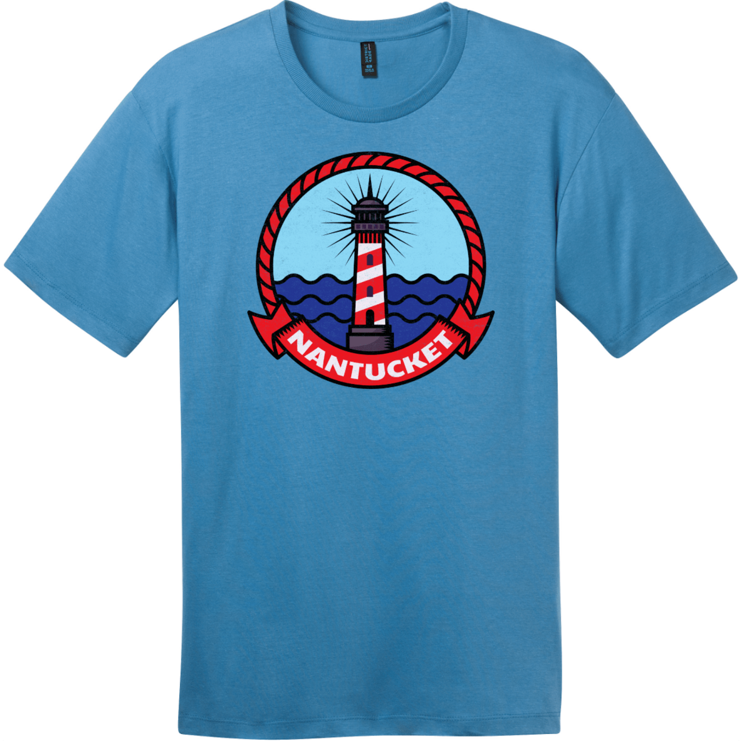 Nantucket Maine Lighthouse Distressed T-Shirt Clean Denim District Perfect Weight Tee DT104