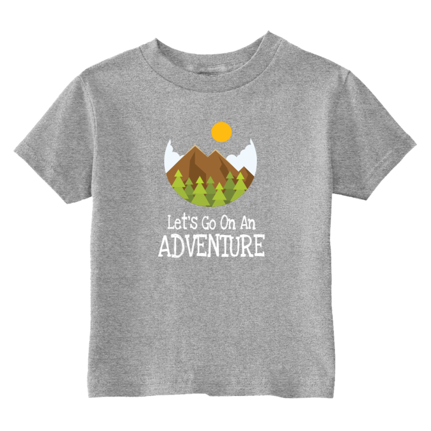 Let's Go On An Adventure Hiking Toddler T-Shirt Gray