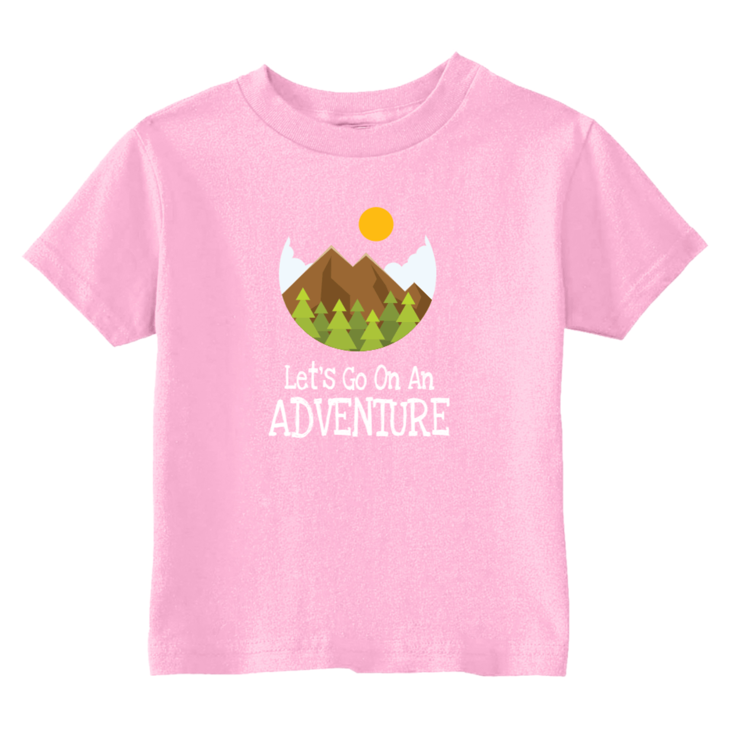 Let's Go On An Adventure Hiking Toddler T-Shirt Light Pink