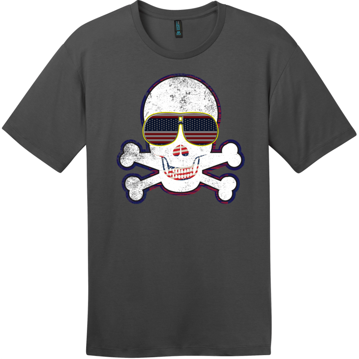 American Flag Sunglasses Retro Skull T-Shirt Charcoal District Perfect Weight Tee DT104