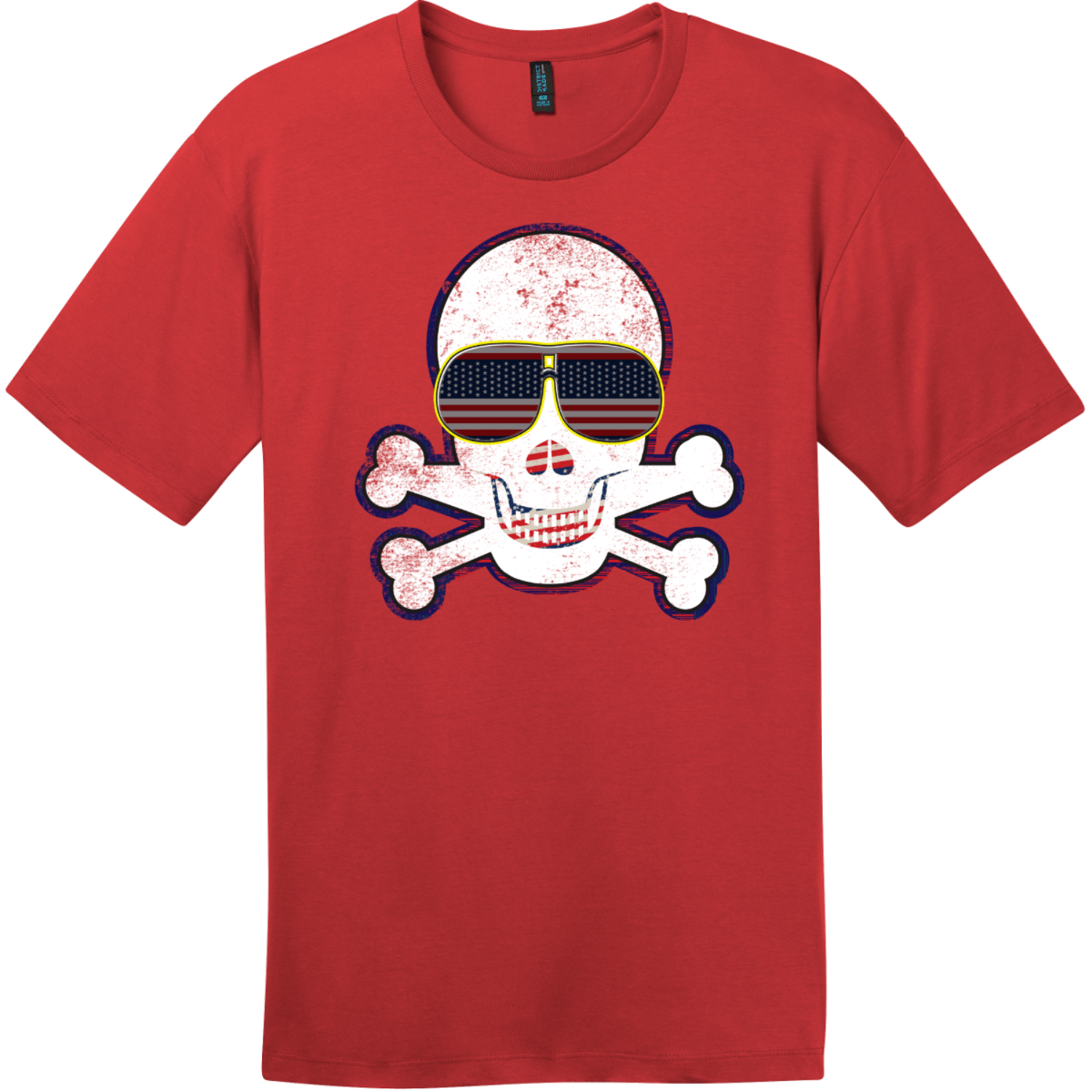 American Flag Sunglasses Retro Skull T-Shirt Classic Red District Perfect Weight Tee DT104