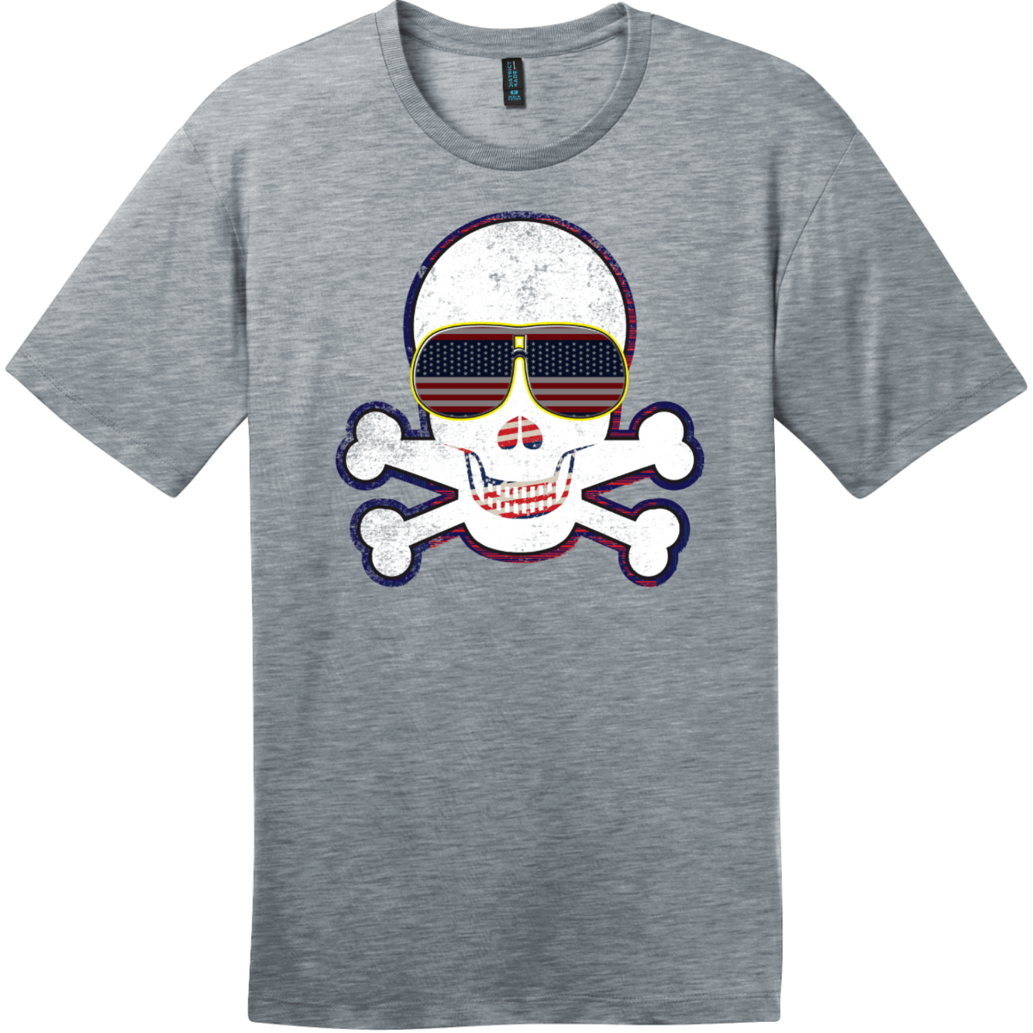 American Flag Sunglasses Retro Skull T-Shirt Heathered Steel District Perfect Weight Tee DT104