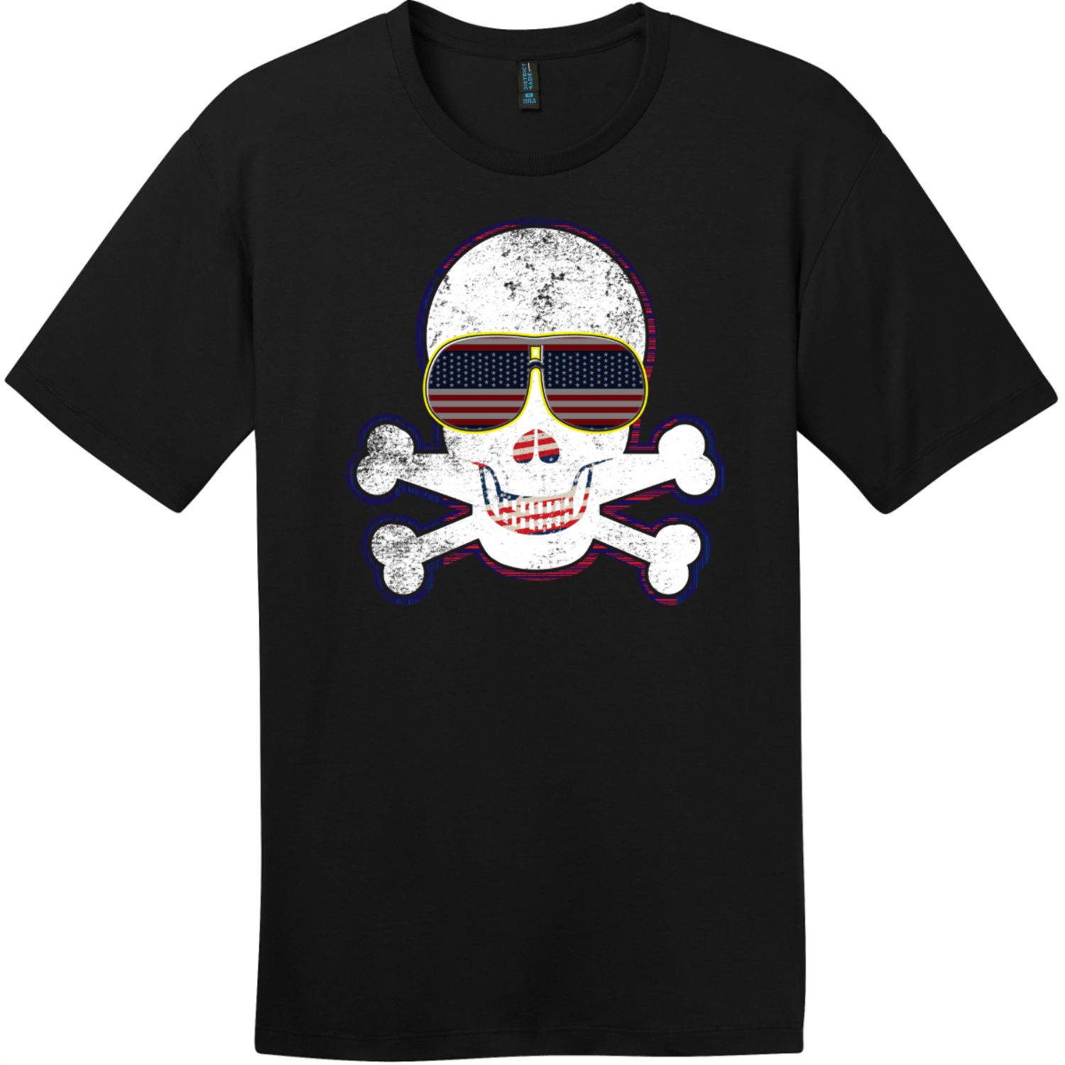American Flag Sunglasses Retro Skull T-Shirt Jet Black District Perfect Weight Tee DT104
