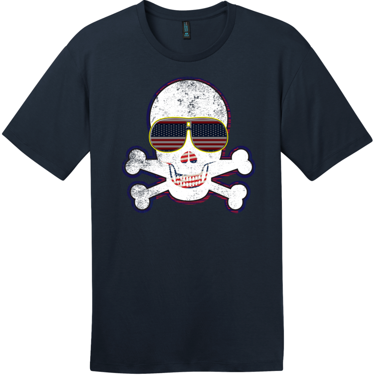 American Flag Sunglasses Retro Skull T-Shirt New Navy District Perfect Weight Tee DT104