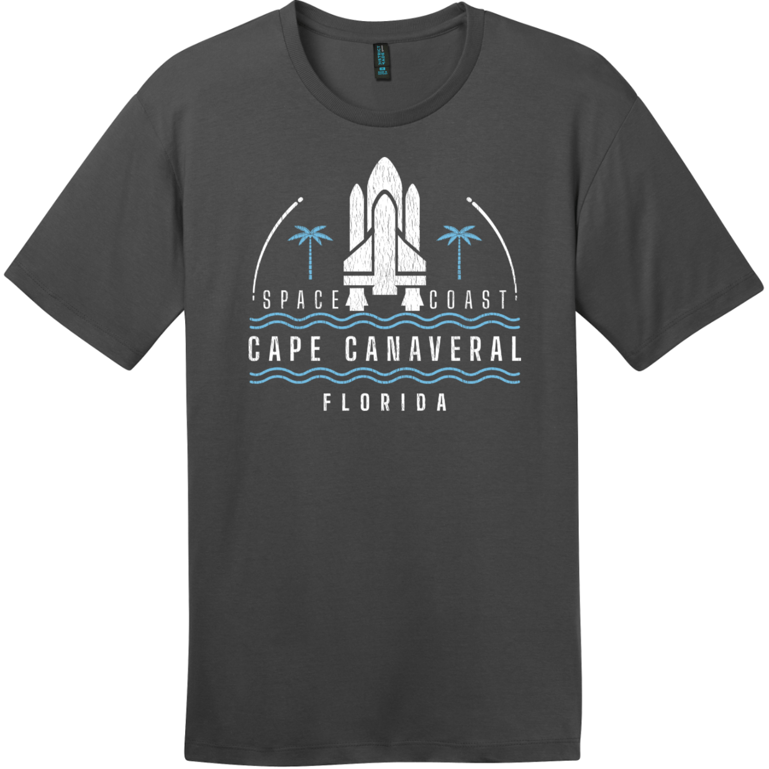 Cape Canaveral Space Coast Vintage T-Shirt Charcoal District Perfect Weight Tee DT104