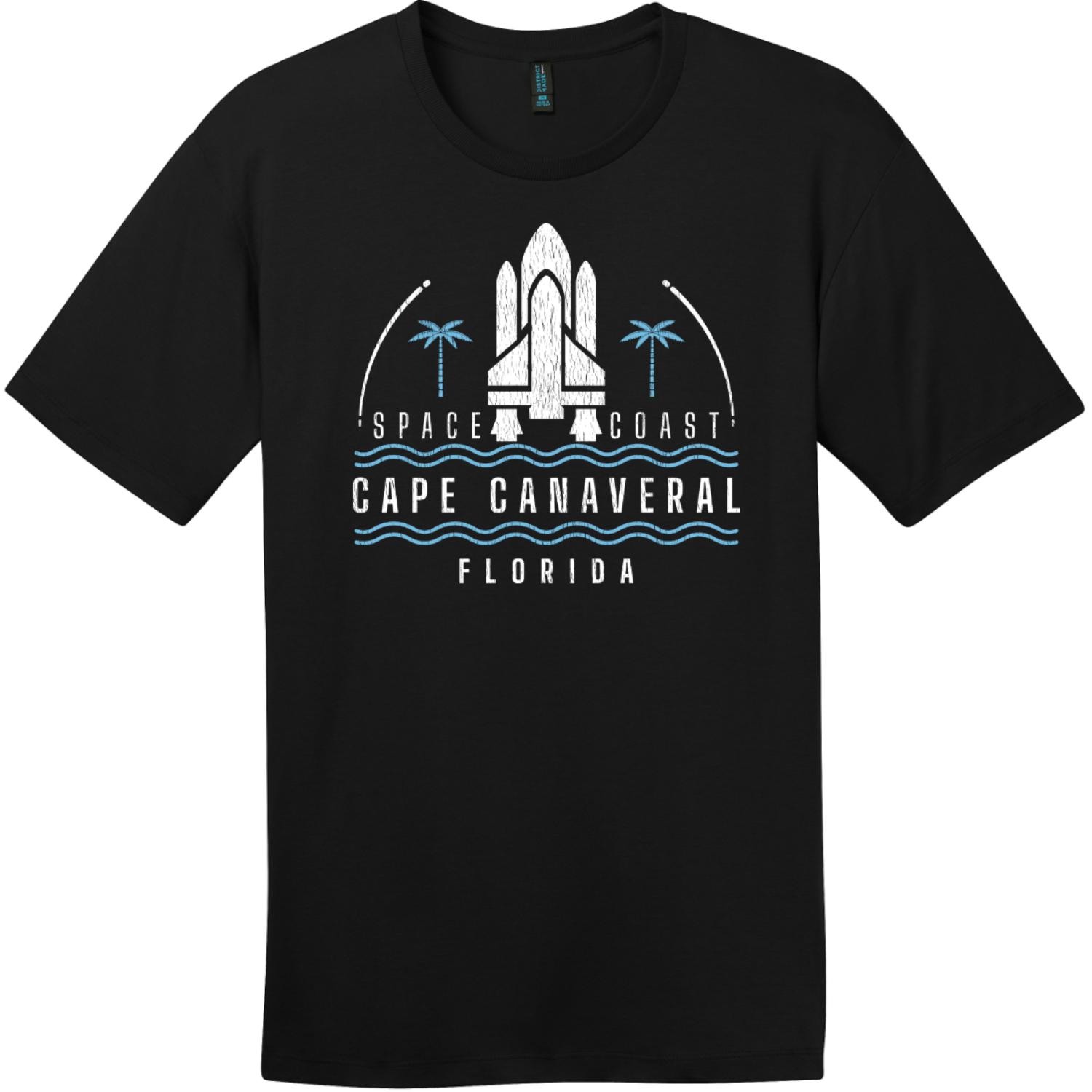 Cape Canaveral Space Coast Vintage T-Shirt Jet Black District Perfect Weight Tee DT104