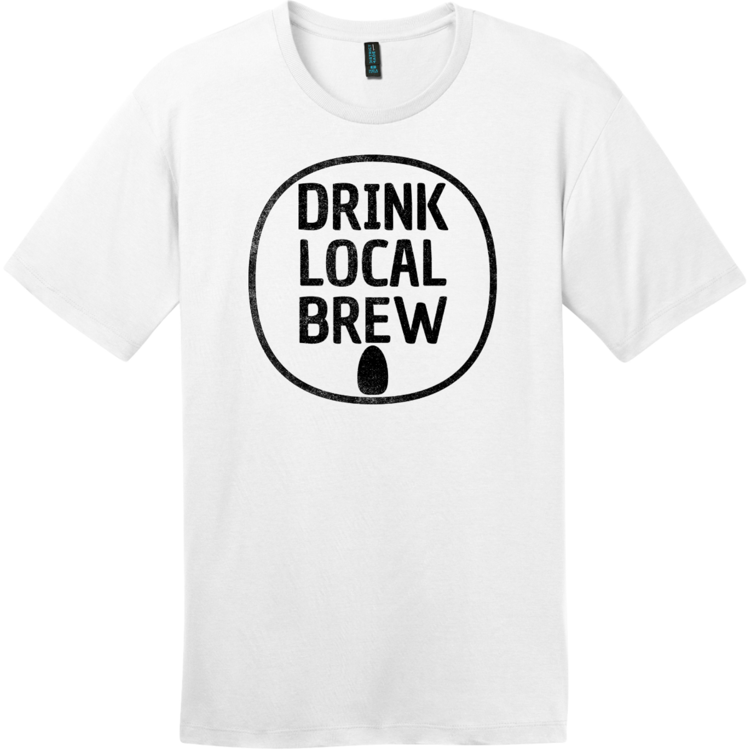 Drink Local Brew Can T-Shirt Bright White District Perfect Weight Tee DT104