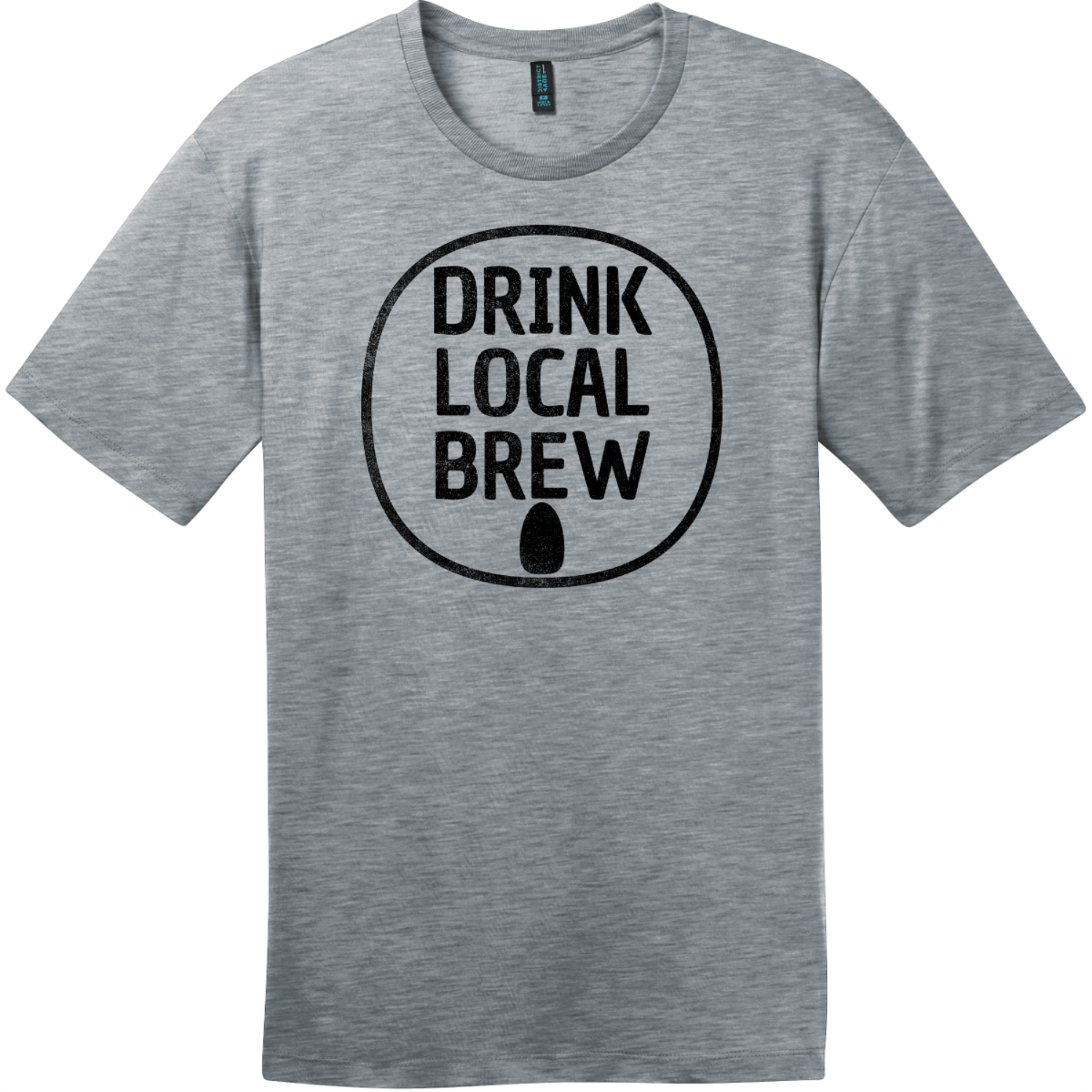 Drink Local Brew Can T-Shirt Heathered Steel District Perfect Weight Tee DT104