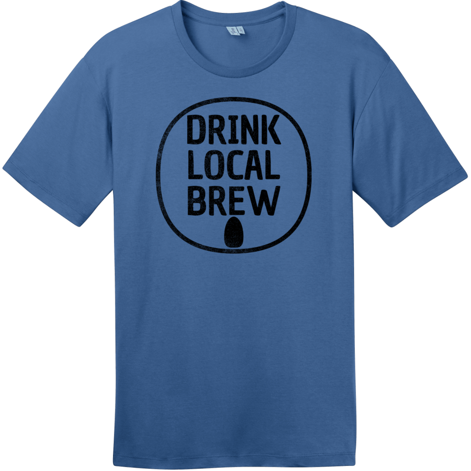 Drink Local Brew Can T-Shirt Maritime Blue District Perfect Weight Tee DT104