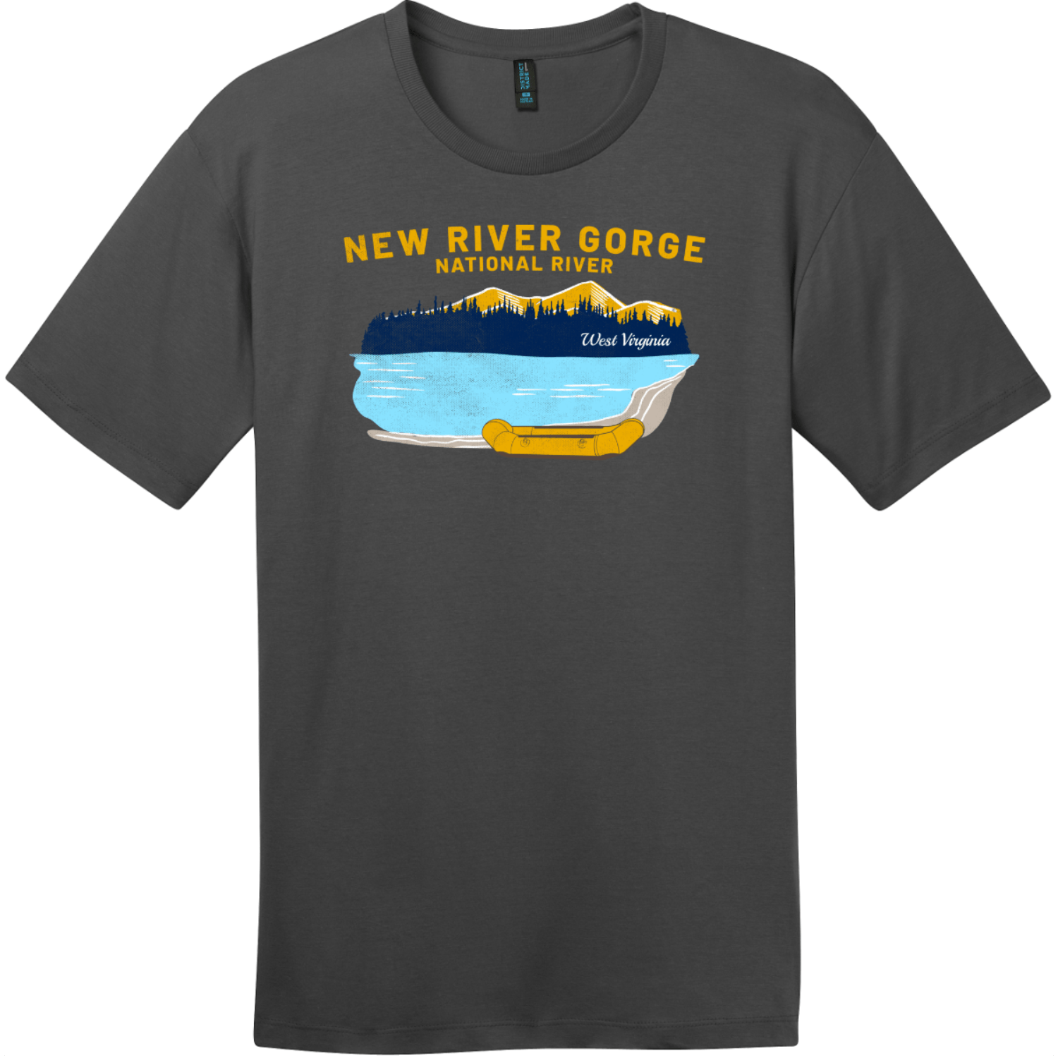 New River Gorge Rafting T-Shirt Charcoal District Perfect Weight Tee DT104