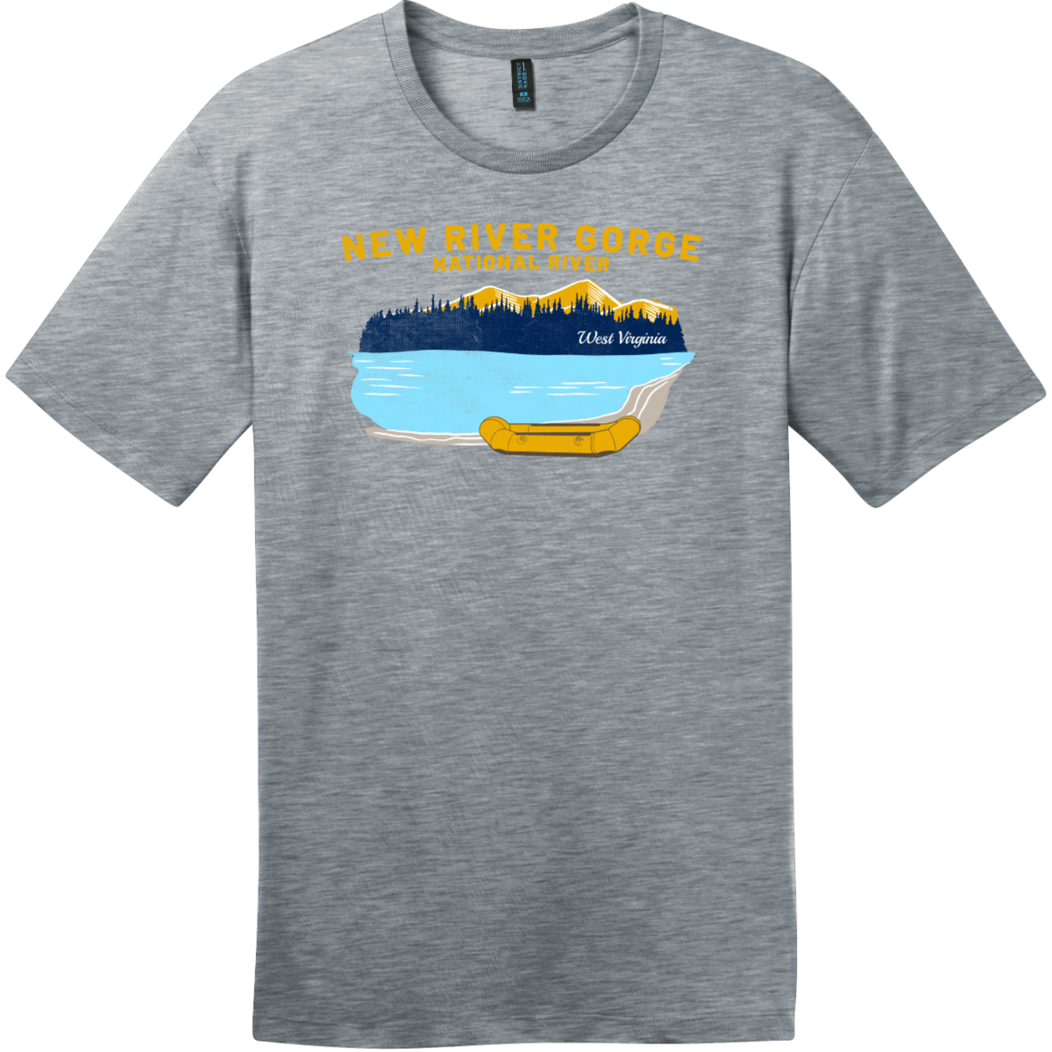 New River Gorge Rafting T-Shirt Heathered Steel District Perfect Weight Tee DT104