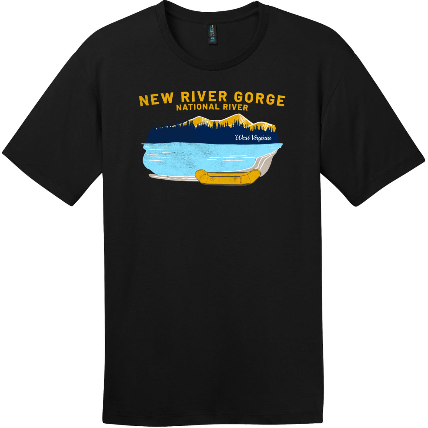 New River Gorge Rafting T-Shirt Jet Black District Perfect Weight Tee DT104