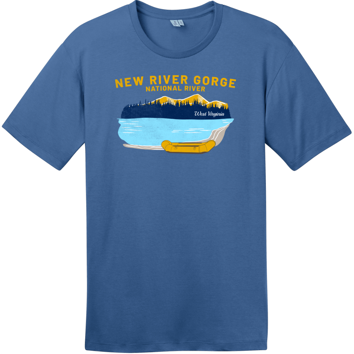 New River Gorge Rafting T-Shirt Maritime Blue District Perfect Weight Tee DT104