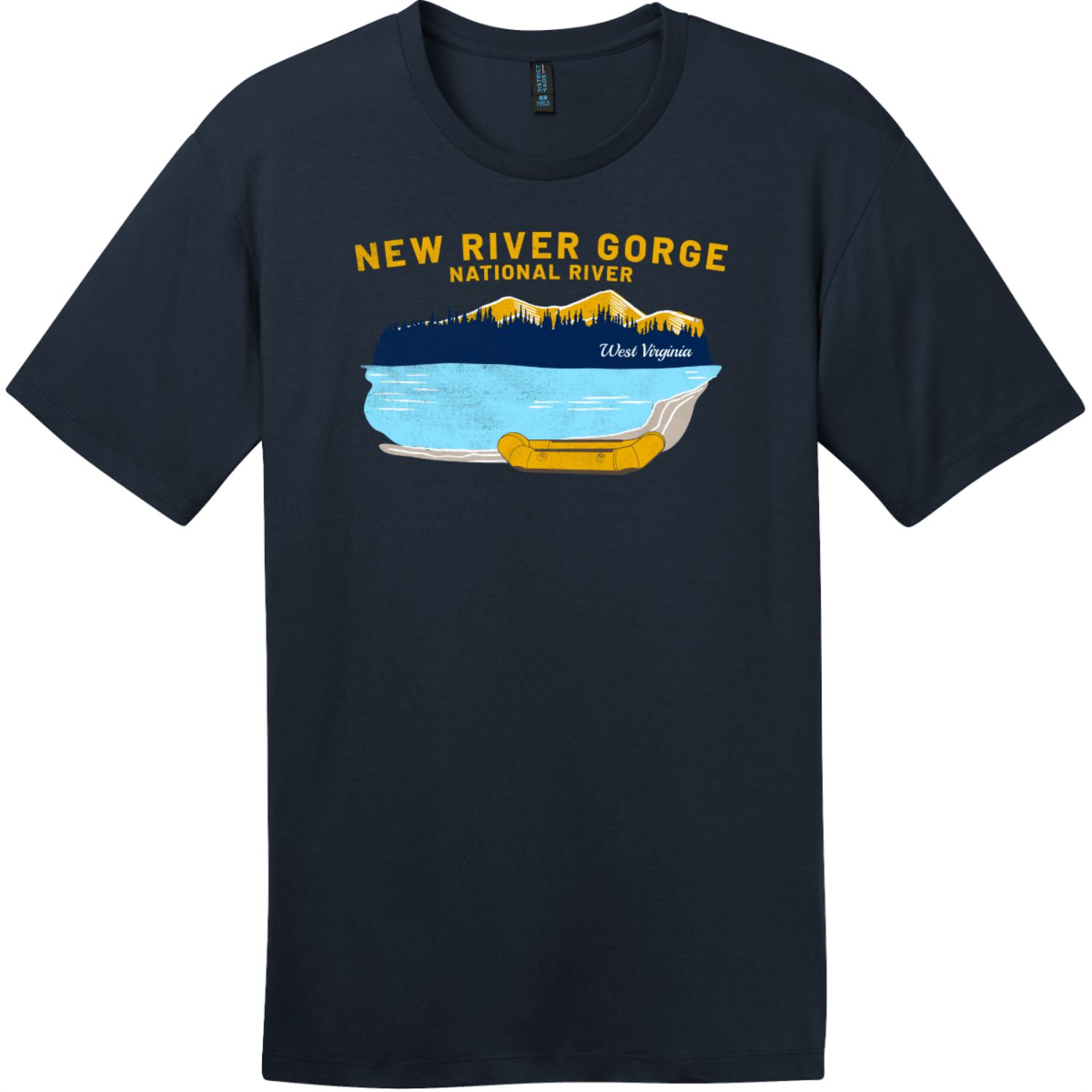 New River Gorge Rafting T-Shirt New Navy District Perfect Weight Tee DT104