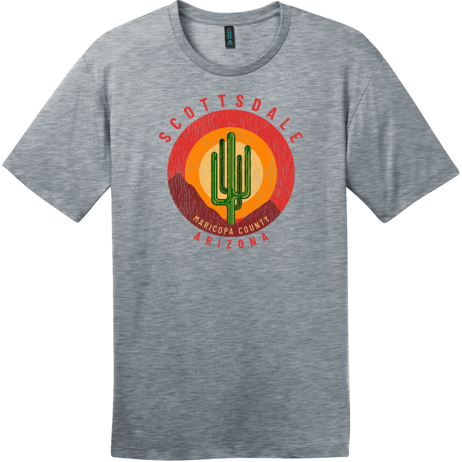 Scottsdale Arizona Cactus Mountains Retro T-Shirt Heathered Steel District Perfect Weight Tee DT104