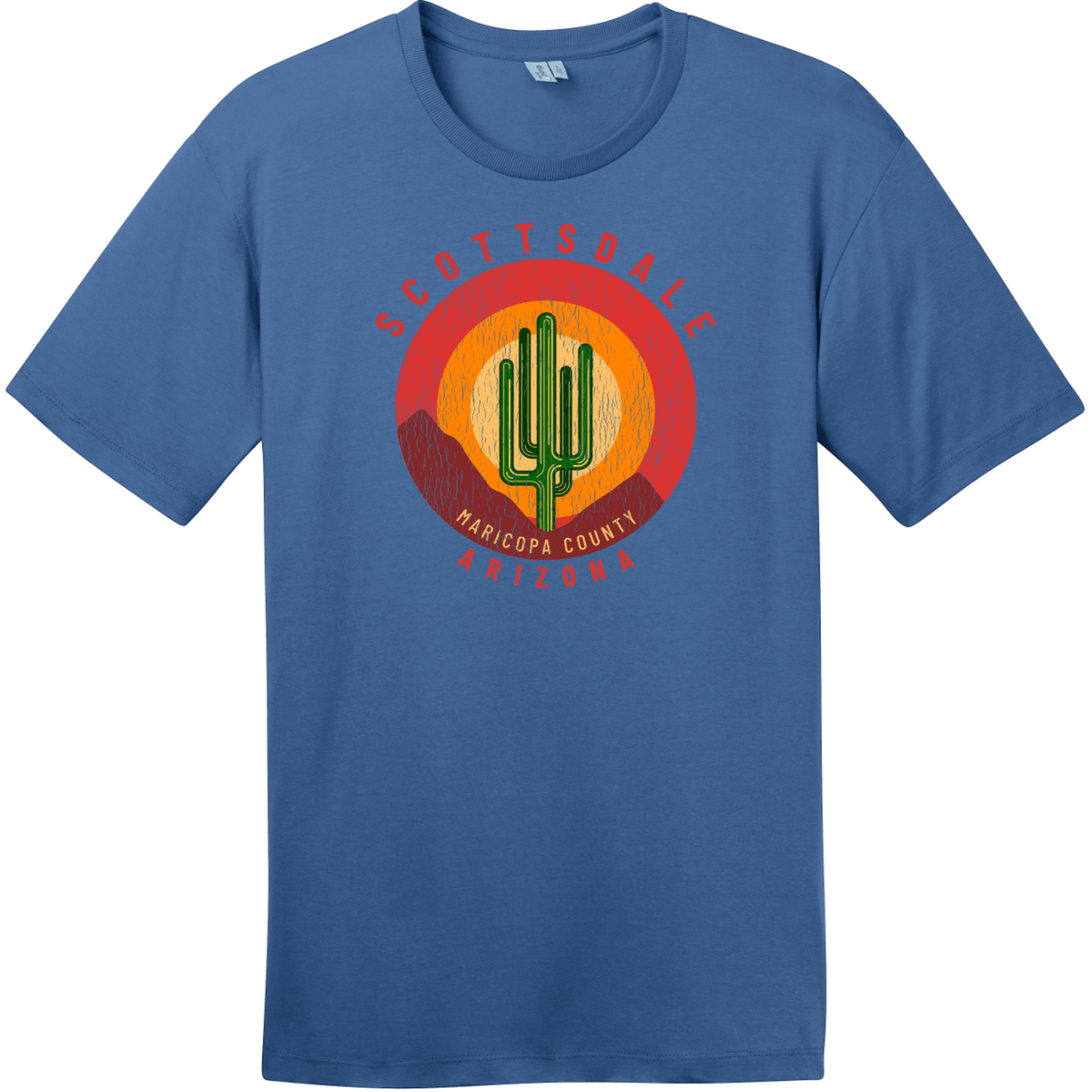 Scottsdale Arizona Cactus Mountains Retro T-Shirt Maritime Blue District Perfect Weight Tee DT104