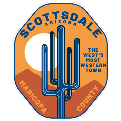 Scottsdale Arizona Cactus Mountains Sticker | U.S. Custom Stickers