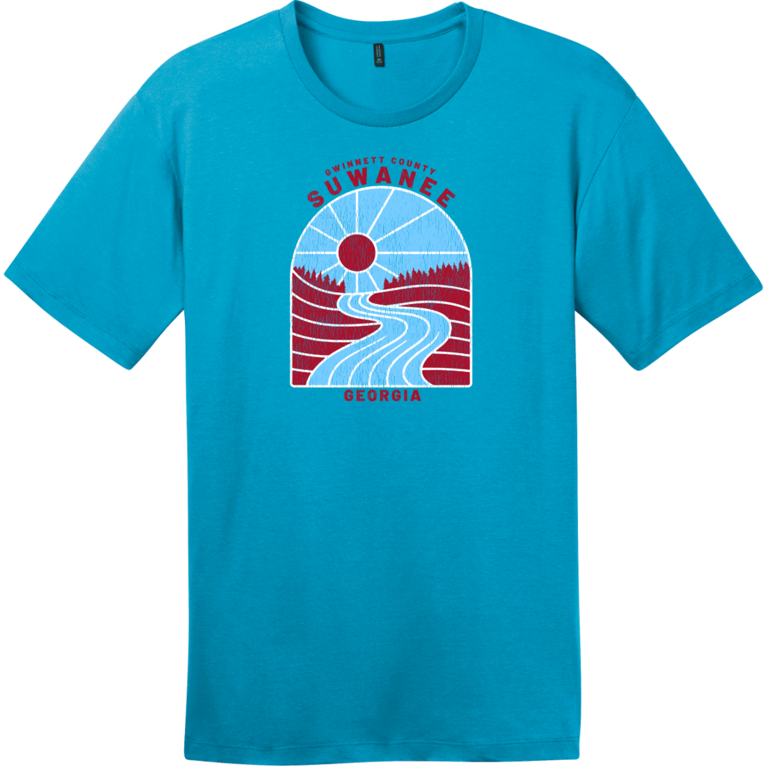 Suwanee Georgia River Retro T Shirt Bright Turquoise District Perfect Weight Tee DT104