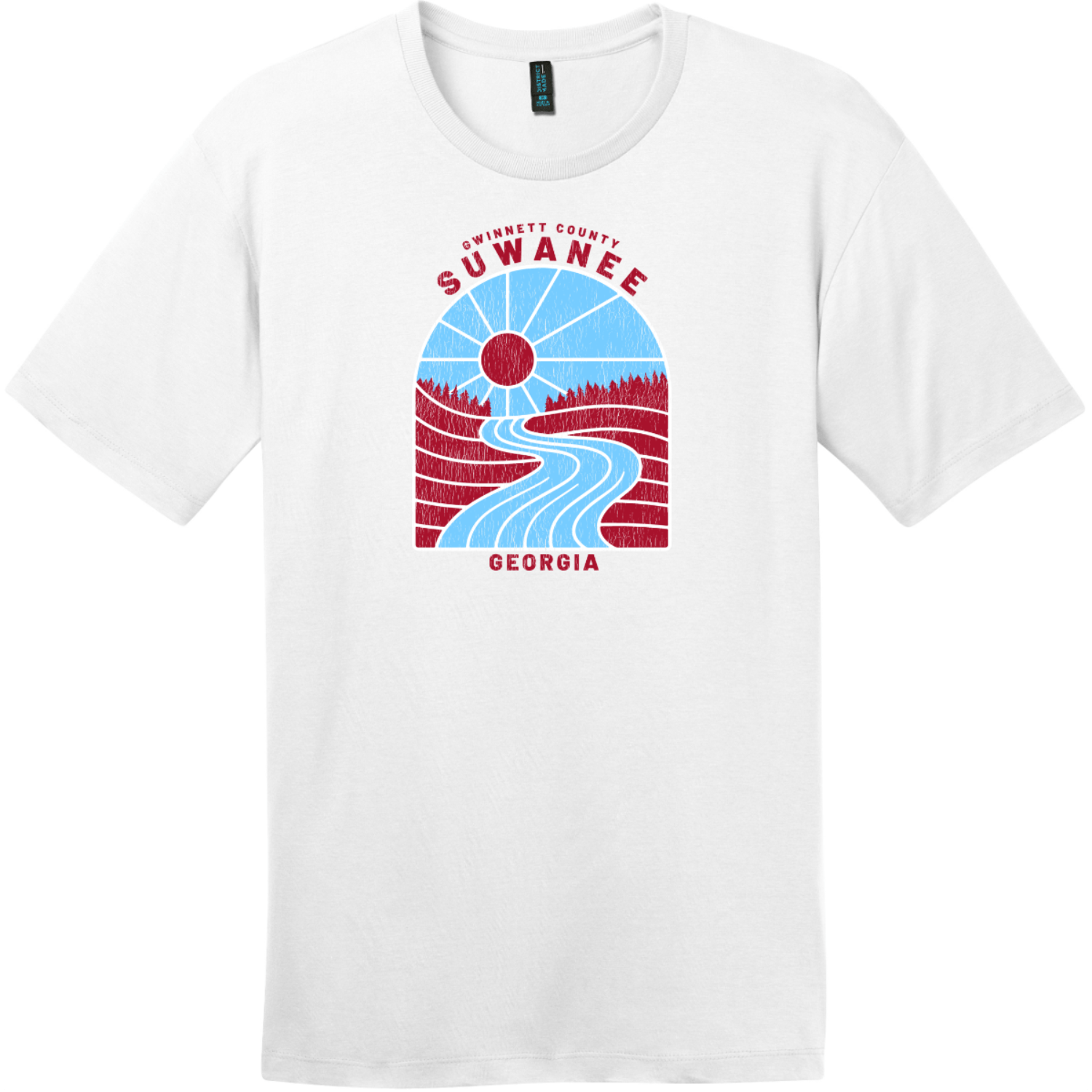 Suwanee Georgia River Retro T Shirt Bright White District Perfect Weight Tee DT104