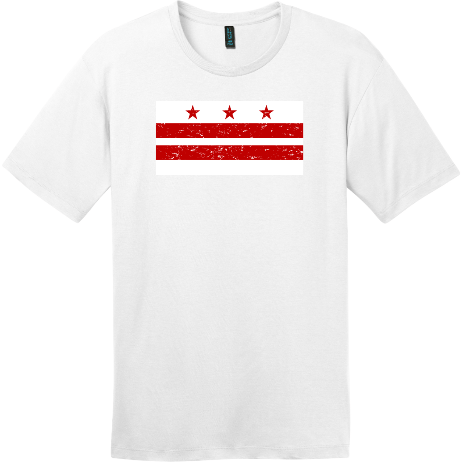 Washington DC Distressed Flag T-Shirt Bright White District Perfect Weight Tee DT104