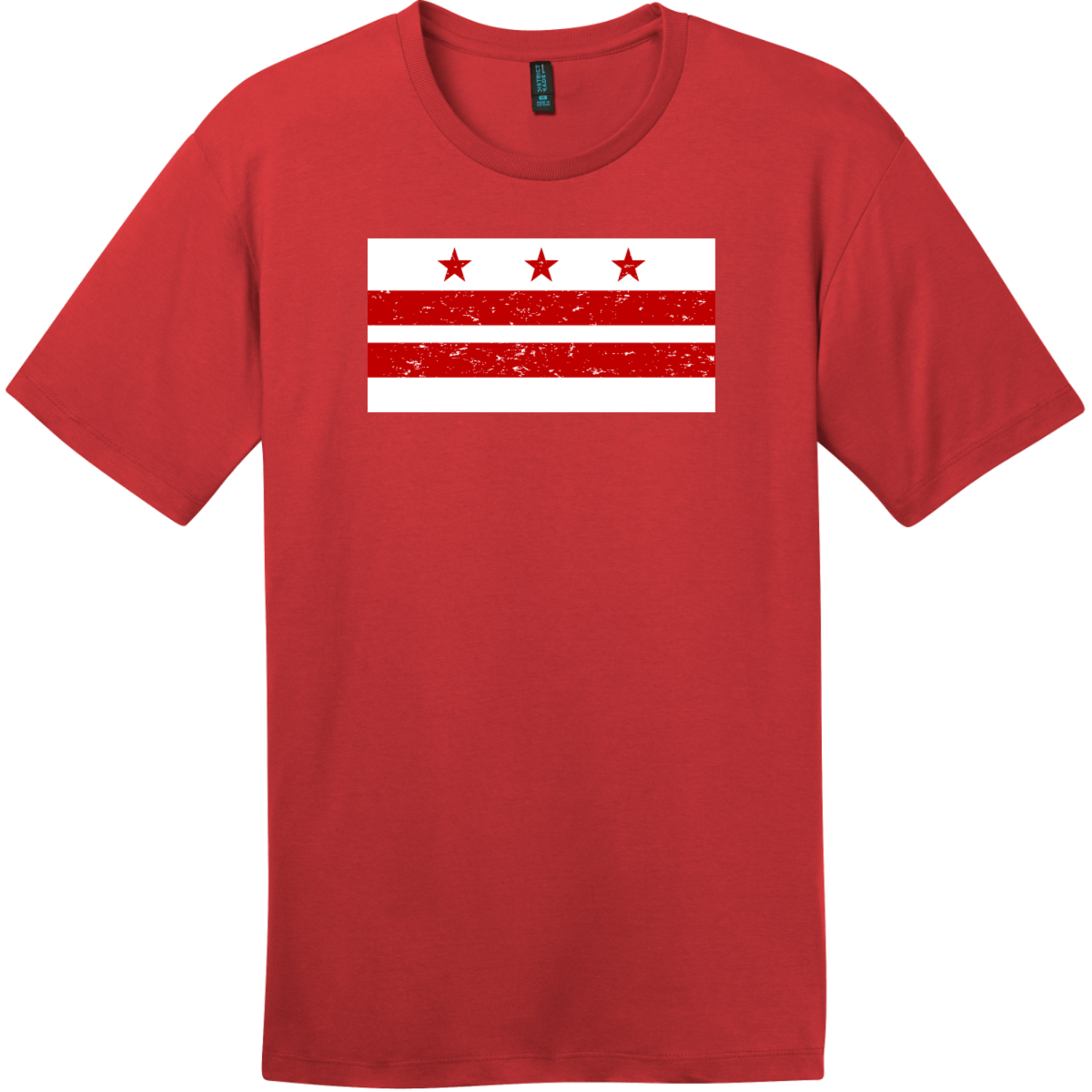 Washington DC Distressed Flag T-Shirt Classic Red District Perfect Weight Tee DT104