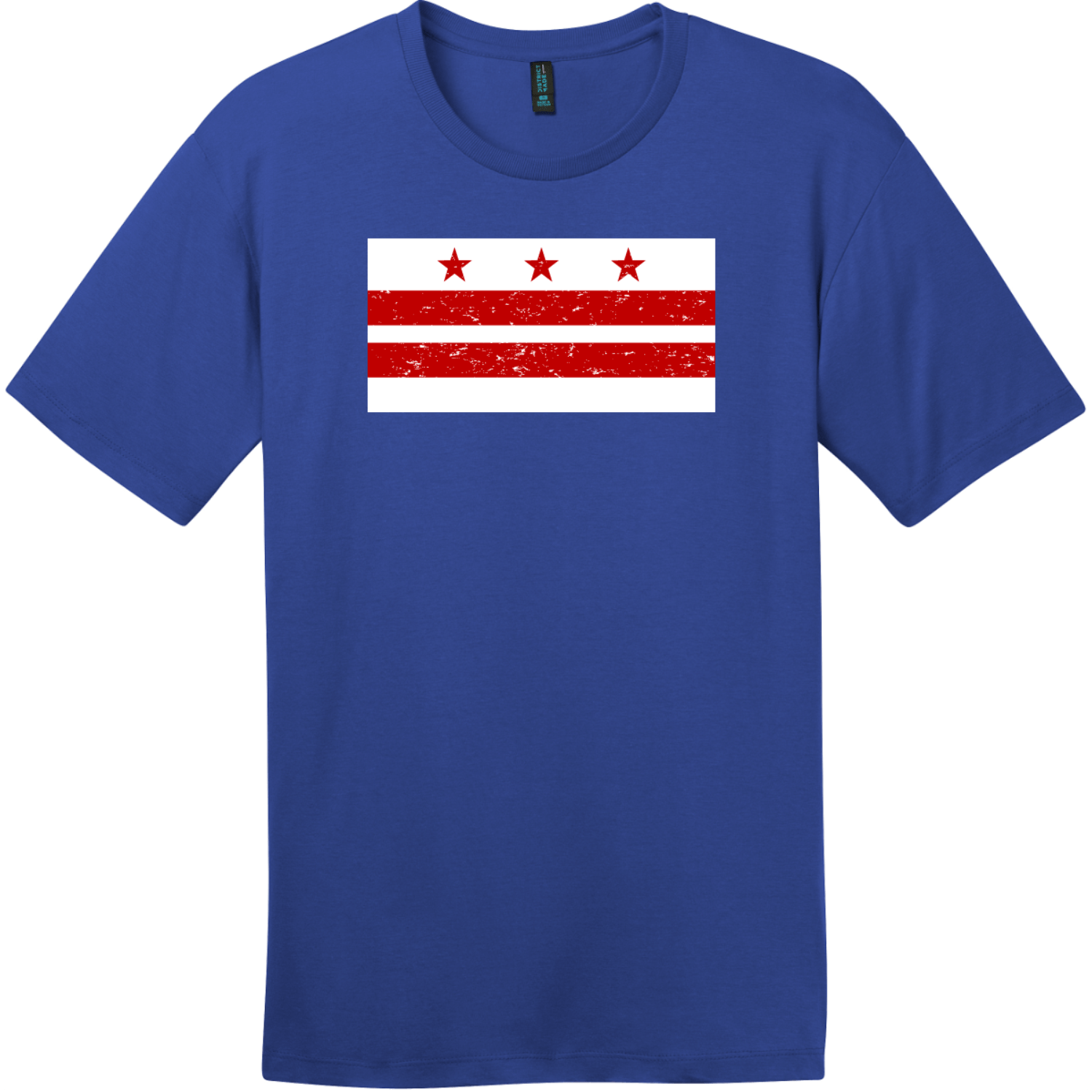 Washington DC Distressed Flag T-Shirt Deep Royal District Perfect Weight Tee DT104