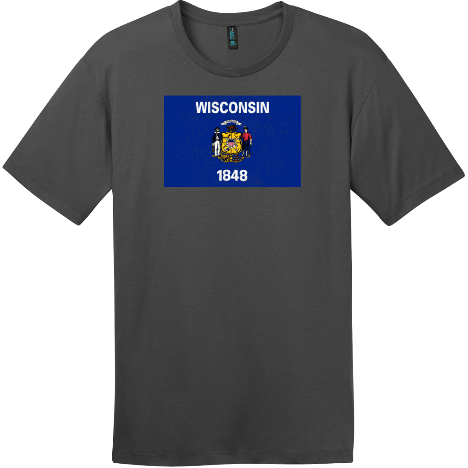 Wisconsin Flag Vintage T-Shirt Charcoal District Perfect Weight Tee DT104