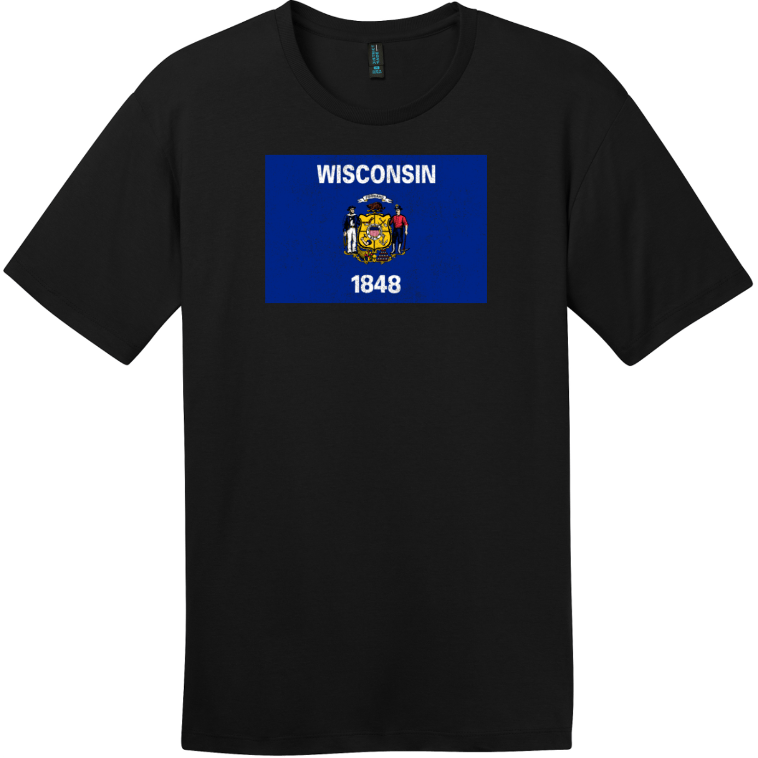 Wisconsin Flag Vintage T-Shirt Jet Black District Perfect Weight Tee DT104