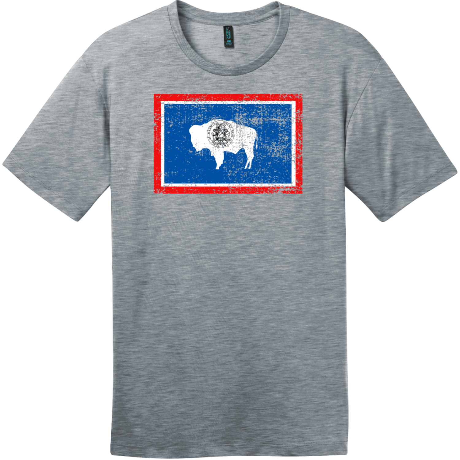 Wyoming Flag Distressed Vintage T-Shirt Heathered Steel District Perfect Weight Tee DT104