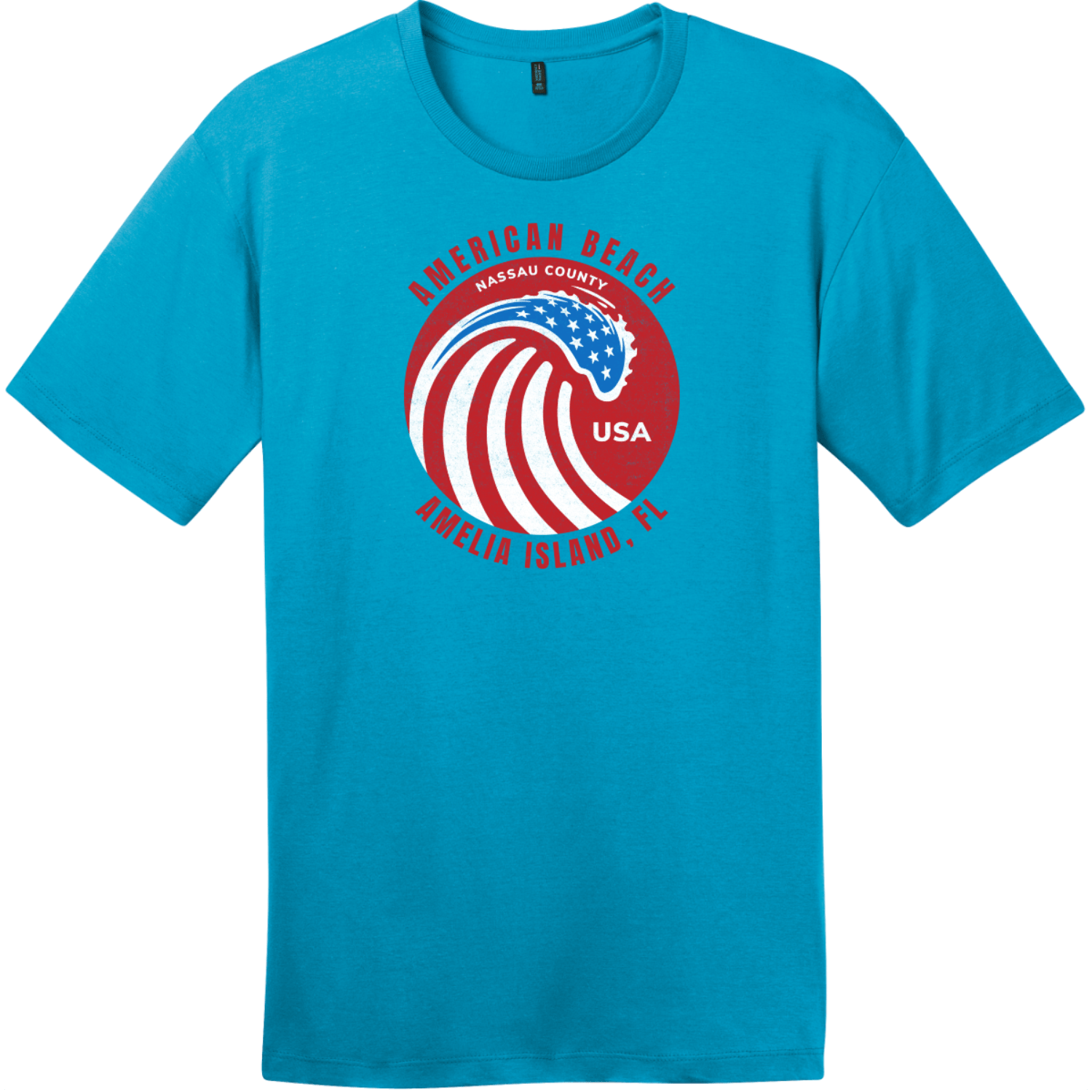 American Beach Amelia Island Vintage T-Shirt Bright Turquoise District Perfect Weight Tee DT104