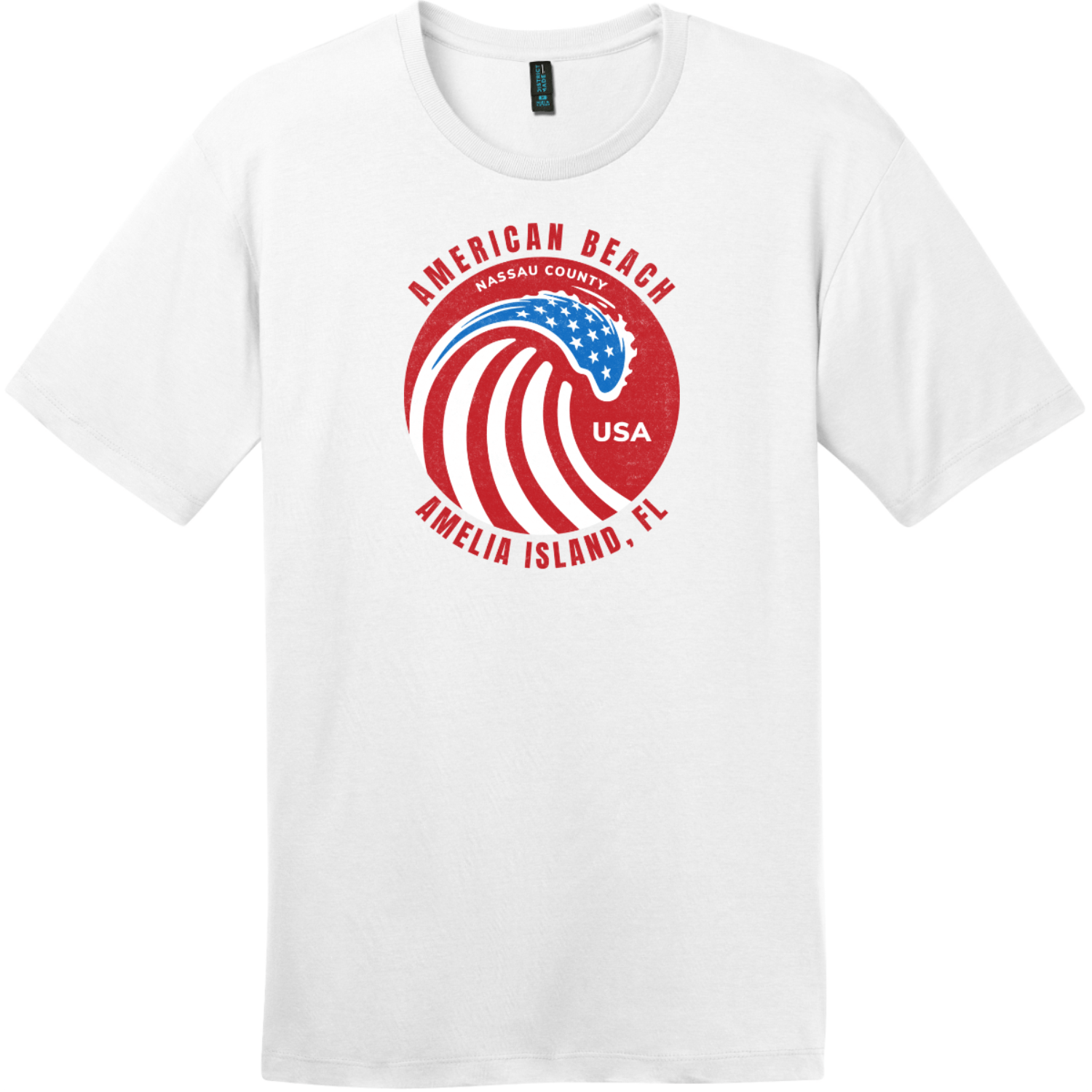 American Beach Amelia Island Vintage T-Shirt Bright White District Perfect Weight Tee DT104