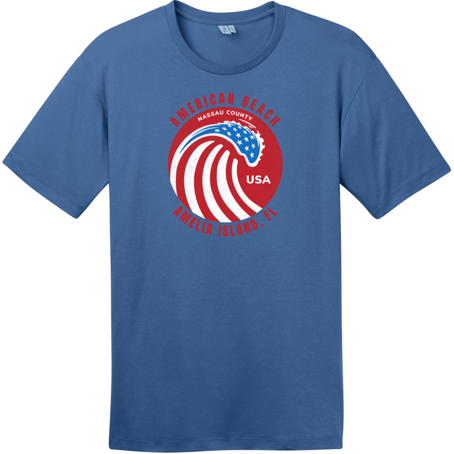 American Beach Amelia Island Vintage T-Shirt Maritime Blue District Perfect Weight Tee DT104