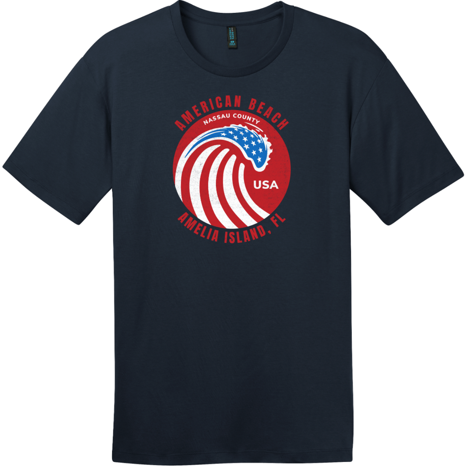 American Beach Amelia Island Vintage T-Shirt New Navy District Perfect Weight Tee DT104