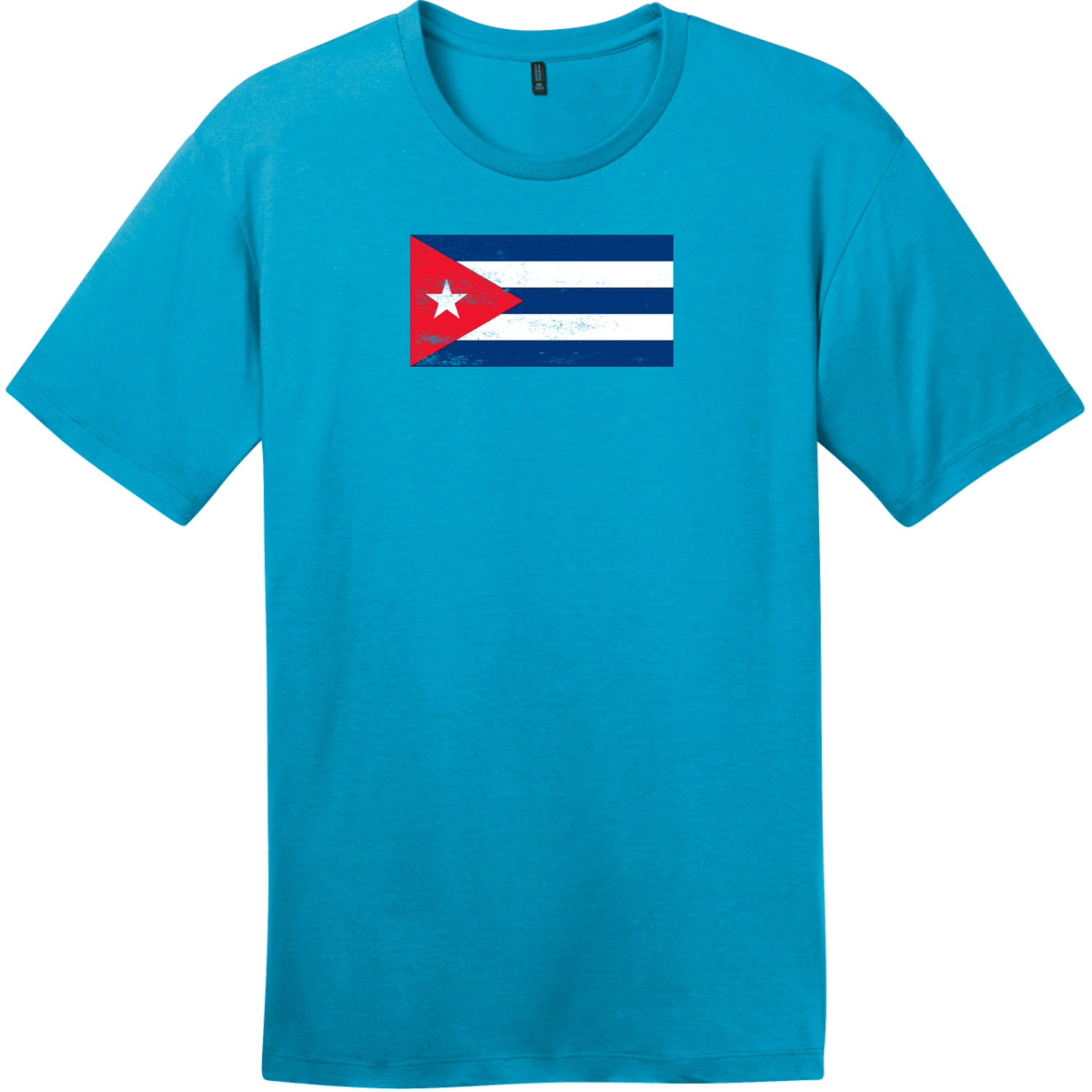 Cuba Vintage Flag T-Shirt Bright Turquoise District Perfect Weight Tee DT104