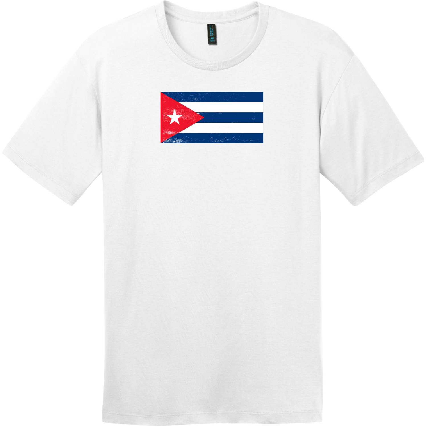 Cuba Vintage Flag T-Shirt Bright White District Perfect Weight Tee DT104