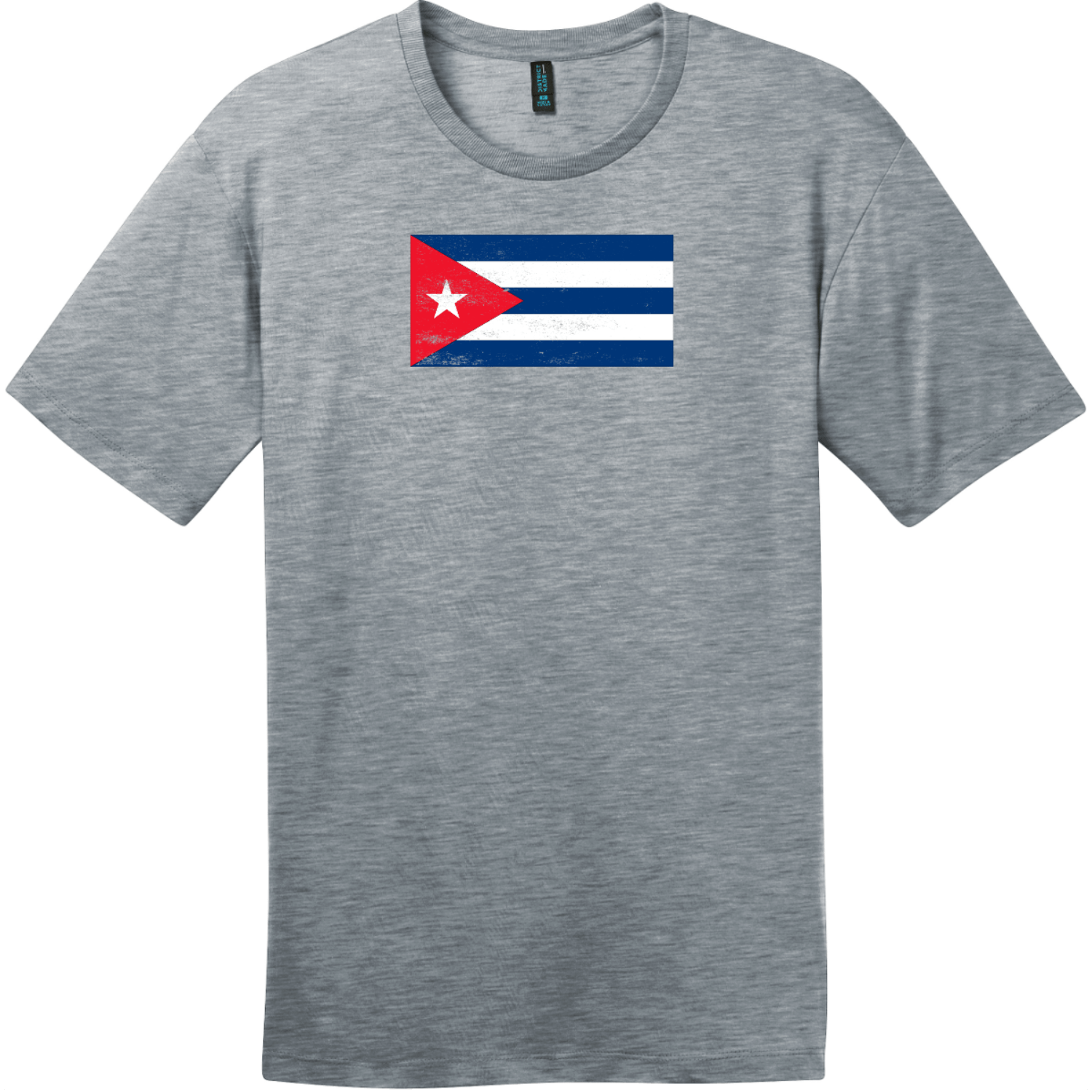 Cuba Vintage Flag T-Shirt Heathered Steel District Perfect Weight Tee DT104