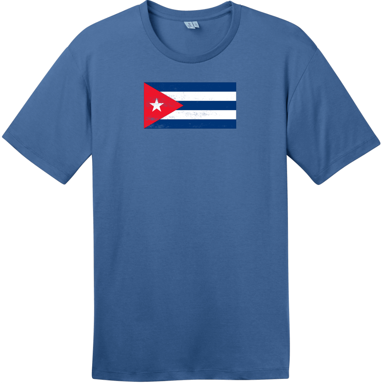 Cuba Vintage Flag T-Shirt Maritime Blue District Perfect Weight Tee DT104