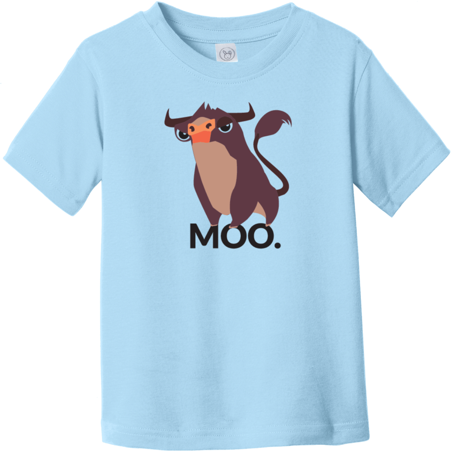 Moo Bull Toddler T-Shirt Light Blue Rabbit Skins Toddler Fine Jersey Tee RS3321